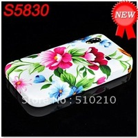 Flower Butterfly Printing Soft Gel TPU Case Back Cover for Samsung Galaxy Ace S5830 DHL Free Shipping 200P/L