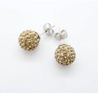 Wholesale Fashion Jewelry Platinum Plate Shamballa Crystal 10MM Ball Earring Stud Gold Crystal Ball Bead Earrings E006