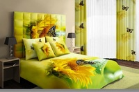 Hot Fashion New  Beautiful 100% Cotton 4pc Doona Duvet QUILT Cover Set bedding set Queen/  King size yellow Butterfly Sunflower