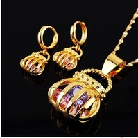 new arrival ! fashion jewelry set 18k yellow gold filled colorful bag zircon necklace earrings set jewelry jewellry set