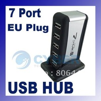 High Speed USB 2.0 7 Port HUB Powered +EU AC Adapter Cable Free Shipping