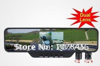 free shipping NEW HD 3.5 inch LCD 8 IR LED dual Camera HD rearview mirror dual lens car dvr