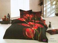 Hot Fashion New  Beautiful 100% Cotton 4pc Doona Duvet QUILT Cover Set bedding set Queen/  King size  Anthurium