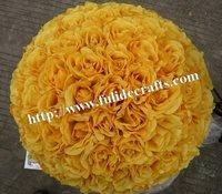 30cm yellow foam center artificial kissing wedding decoration flowers ball