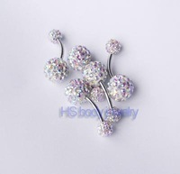 14g~1.6mm 3/8~10mm Belly Button Navel Ring Bar Ferido Gem 10mm bottom ball mixed 2 color  20pcs/lot