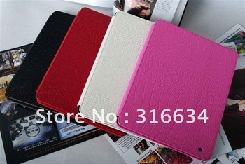 Free shipping ! Wesens brand First class quality Cayman texture real cowhide leather case for original Apple ipad 2 & new ipad 3