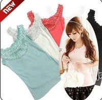 Wholesale retail new fashion girl ladies lace Sleeveless T-Shirt Tank Tops Ladies Cami Waistcoat Vest  sweater cotton whcn