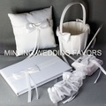 Minling Wedding Favors,Satin Elegant Ring Pillow Basket Guest Book Pen and Garter--#40