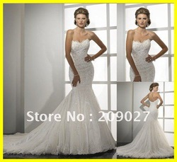2012 New Gorgeous Sweetheart Appliques Mermaid Tulle Long Bridal Gown Wedding Dresses(China (Mainland))
