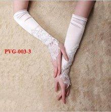 Free Shipping Hot Style Fingerless Bridal Gloves Full Length Wedding Gloves Formal Gloves Party Gloves White/Beige /PVG-003-3(China (Mainland))