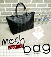 2012 newest free shipping /Fashion Women Lady Handbag Soft PU /mesh black bag