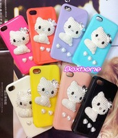 Free shipping New 3D Hello Kitty Series With Bowknot Pearls Stereo Case For iPhone 4 4S