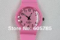 300pcs/lot Free shipping fashion watch plastic sports watch full numbers children watch plastic quartz watch opp bag packaging
