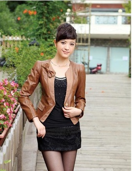 Han edition cultivate one's morality V is gotten big yards female brief paragraph leather coat jackets locomotive PU bow