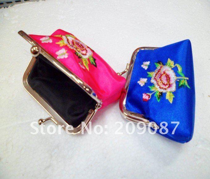 Free shipping! WHOLESALE 60 pcs HANDMADE embroidery CHINESE SILK COIN PURSES(China (Mainland))