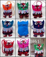 Free shipping! Wholesale 50 pcs 2012 year new Handmade Patchwork Owl Backpacks Bag Purse Linen Wallet