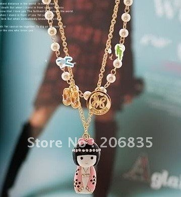 Korean necklace Japanese Style Kimono Lady Doll Double Layer Pearl Necklace, Free Shipping,Mini Order$10,Can Mix(China (Mainland))