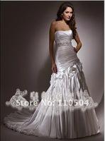 Slim A-line European draping strapless wedding dress wedding wedding custom+ +94