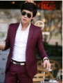 NEW fashion wedding groom Burgundy Premium Mens slim fit one button dress suit set Jacket + pants,SIZE: M-L-XL