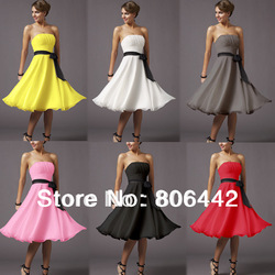 New Arrival Ladies' Knee-Length Short Prom Gown Bridesmaid Chiffon Dress/ Party Cocktail Dress Free Shipping 3666(China (Mainland))