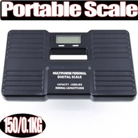 Free Shipping +High Quality Guaranteed New 1Pcs Black 150KG/0.1KG Digital Plastic Portable Personal Scale Wage 150X0.1KG 150 KG