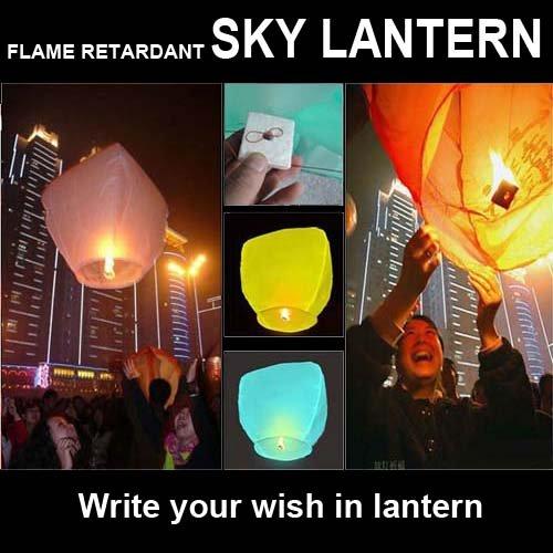 Free shipping 20pcs/lot Flame Retardant Paper Sky Lantern/Wish Lantern KongMing Lantern for Party, Christmas,Halloween....(China (Mainland))