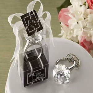 Free Shipping +With This Ring Crystal Keychain Ring in Clear Color+100pcs/lot+Very Good for Wedding Favors(China (Mainland))