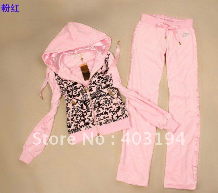NWT Korea Style Fashion Ladies Velour Pink Suit Women Sports Clothing Set 4colors(China (Mainland))