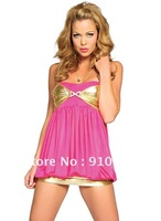 FREE SHIPPING!(10pieces)100% Brand New Women's Sexy lingerie,Sexy costumes/Pink And Gold Mini Dress,SL2132-3