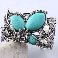 MB12041708 Hot Sale Butterfly Bangle Bracelet Vintage Silve Plated Turquoise Blue Stone Adjustable Bangle Free Shipping