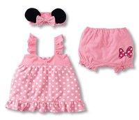 5sets/lot cute baby girl polk dot top dress+short pants+headhand for summer clothes,infant dress