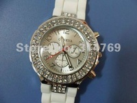 5pcs/lot, White Geneva Watch,Crystal Classic Gel Diamond Silicone Lady Wrist Watch,Women's Rhinestone Watch,Retail,Wholesale