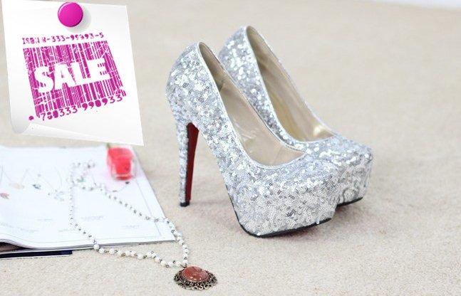 New Arrivals 2015 Wedding Shoes Glitter Pumps Gold Heels Silver CC210