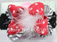 Girls' Boutique hair bow handmade ribbon feathers hairbows hairband hairclip hair clip crochet headband H05