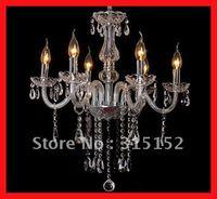 Hot sale modern home decoration crystal chandelier 6 lights,transparent tube without shape