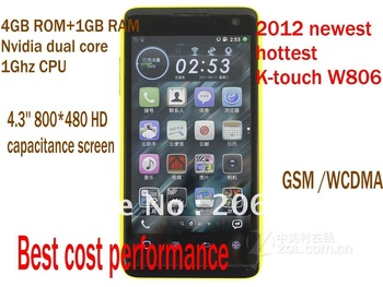 arrival original K-TOUCH W806 android phone 3G dual sim 1Ghz cpu 4G