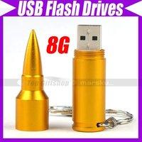 Free shipping/USB 2.0 8GB Metal Bullet Flash Drive Memory Disk Stick Mass Storage #2573