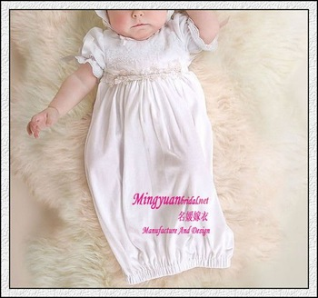 Short sleeve cotton appliqued child baby dress model