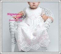 White appliqued Organza short sleeves babies dresses