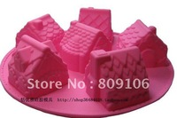 Wholesale ,Silicone 6 house Shapes Cake Mould chocolate  Baking Cupcake  Pan ,free shipping