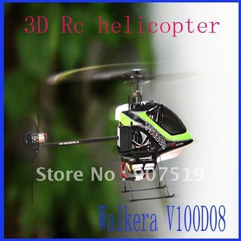 Newest Walkera V100D08 3D 6channel RC helicopter + DEVO7 7Ch Transmitter 1pcs Free shipping