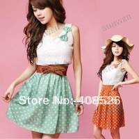 New Korean Fashion Style Polka Dot Dress Sweet Lovely Mini Dress Orange/Green Chiffon + Lace Top free shipping 3607