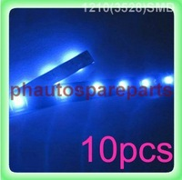 Free Shipping 50pcs/lot 1210 3528 SMD waterproof flexible led strip 30cm 15 SMD LED strip Light led bar blue color 12V