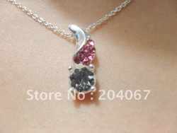 NEW FASHION SILVER NECKLACE WITH DIAMONDS 40 MIS thickness silver plated, classical necklace free shipping