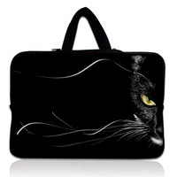 "Cat Face 15"" 15.6""  Black Notebook Laptop Handle Carrying Travel Sleeve Bag Case Cover Protector Holder with Handle ShowerProof"