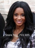 "Free shipping! Stock popular Best-selling 100% india remy human hair 18"" 1# color body wave lace front wig"