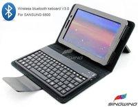 "Black Wireless Bluetooth keyboard Leather Case For 7.7"" P6800 Samsung Galaxy Tab Free shipping   SW-0039"