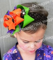 Girls' Boutique hair bow handmade ribbon feathers hairbows hairband hairclip hair clip crochet headband H31