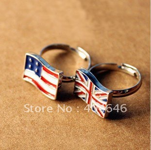 Wholesale Fashion England flag and America flag rings finger Ring Jewellry,free shipping,factory price