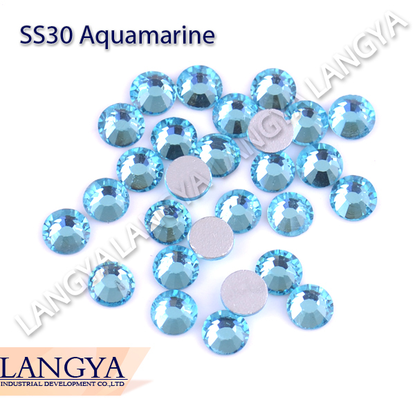 LY12358,Wholesale crystal nail art rhinestone Flat back non hotfix rhinestone ss30(6.3-6.5mm) Aquamarine CPAM free,288pcs/bag(Hong Kong)